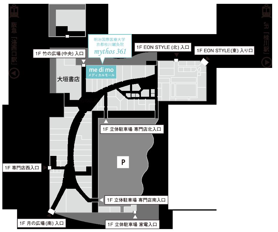イオンモール桂川1階フロアマップ